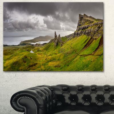 Designart Storr Mountains Panorama Landscape Photography Canvas Print - 3 Panels