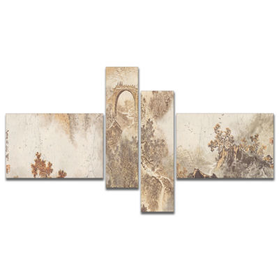 Designart Nature In Vintage Style Multipanel Landscape Photography Canvas Print - 4 Panels