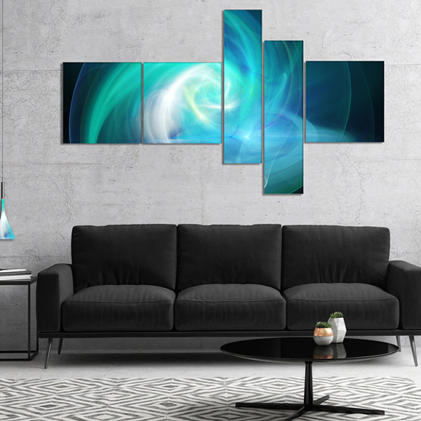 Designart Blue Fractal Abstract Illustration Multipanel Abstract Canvas Wall Art - 5 Panels