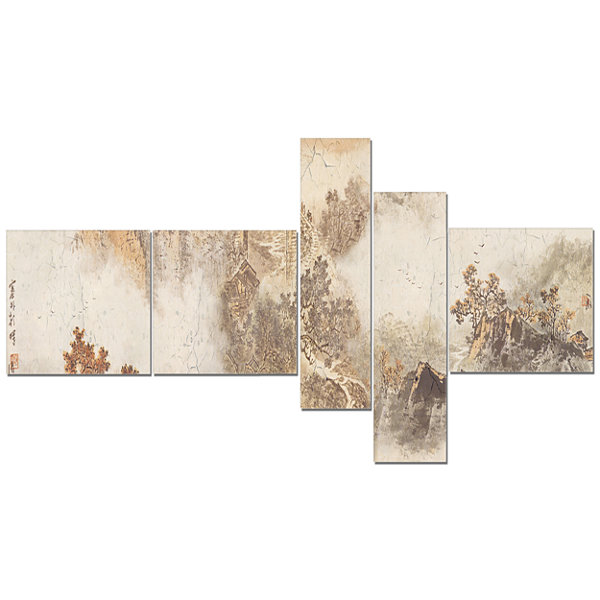 Designart Nature In Vintage Style Multipanel Landscape Photography Canvas Print - 5 Panels