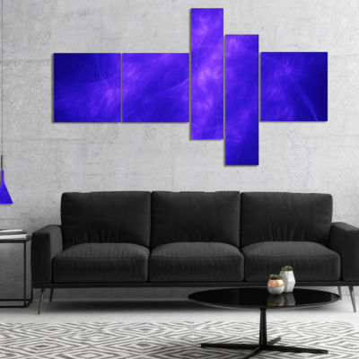 Designart Blue Fractal Abstract Pattern MultipanelAbstract Art On Canvas - 5 Panels