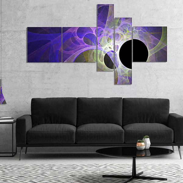 Designart Blue Fractal Angel Wings Multipanel Abstract Wall Art Canvas - 4 Panels