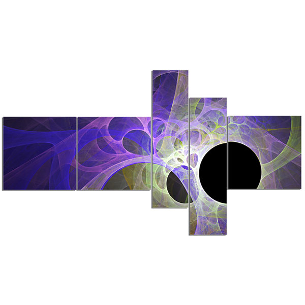 Designart Blue Fractal Angel Wings Multipanel Abstract Wall Art Canvas - 5 Panels