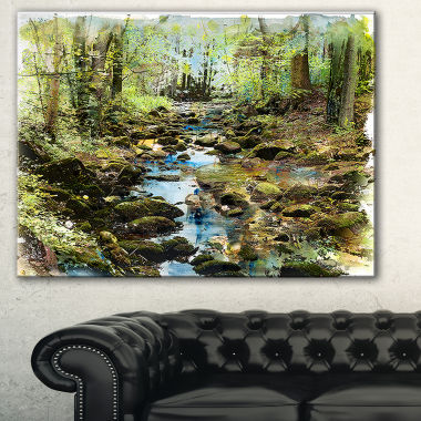 Designart Stream In The Forest Landscape PaintingCanvas Print