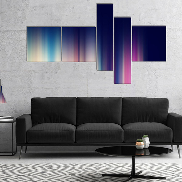 Designart Neon Blue Abstract Lines Multipanel Abstract Canvas Art Print - 5 Panels
