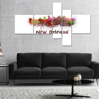 Designart New Orleans Skyline Multipanel CityscapeCanvas Artwork Print - 4 Panels