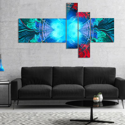 Designart Blue Fractal Circles And Waves Multipanel Abstract Canvas Art Print - 4 Panels