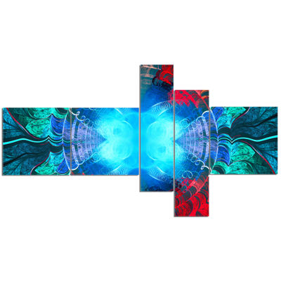 Designart Blue Fractal Circles And Waves Multipanel Abstract Canvas Art Print - 5 Panels