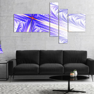 Designart Blue Fractal Cross Design Multipanel Abstract Canvas Art Print - 4 Panels