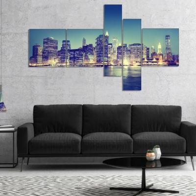 Designart New York City Evening Panorama Multipanel Extra Large Canvas Art Print - 5 Panels