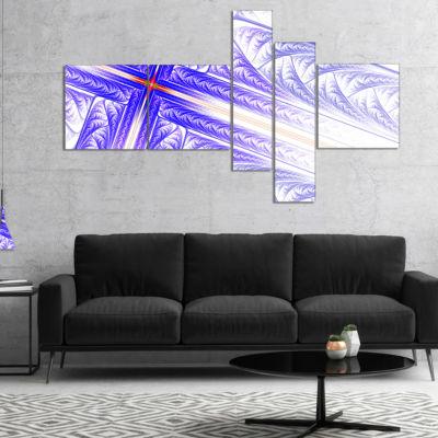 Designart Blue Fractal Cross Design Multipanel Abstract Canvas Art Print - 5 Panels