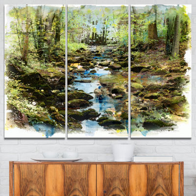 Designart Stream In The Forest Landscape PaintingCanvas Print - 3 Panels
