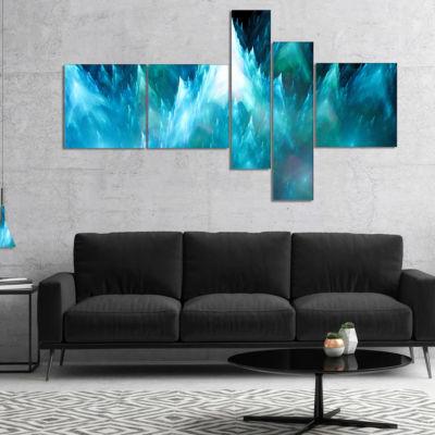 Designart Blue Fractal Crystals Design MultipanelAbstract Canvas Art Print - 4 Panels