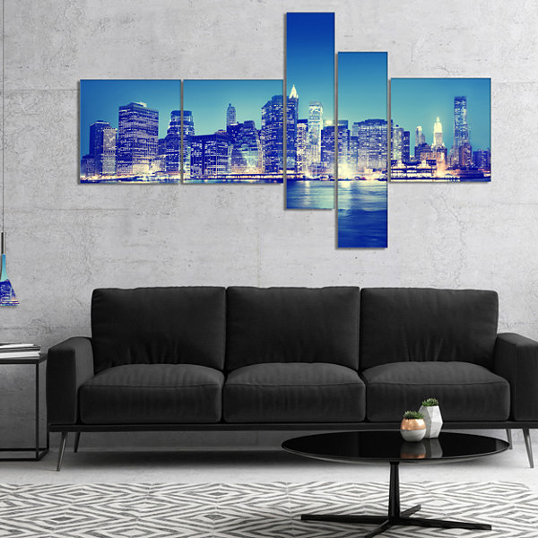 Designart New York City Night Panorama MultipanelExtra Large Canvas Art Print - 5 Panels