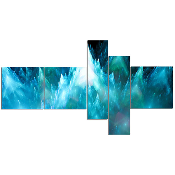 Designart Blue Fractal Crystals Design MultipanelAbstract Canvas Art Print - 5 Panels