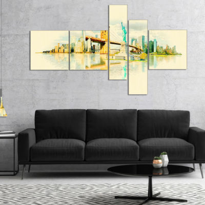 Designart New York Panoramic View Multipanel Cityscape Watercolor Canvas Print - 5 Panels