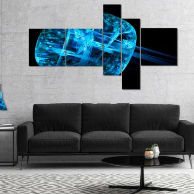 Designart Blue Fractal Cube In Dark Multipanel Abstract Canvas Art Print - 5 Panels