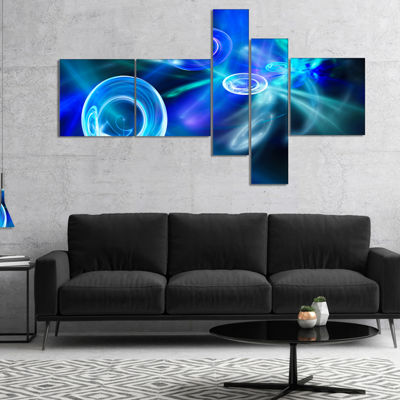 Designart Blue Fractal Desktop Multipanel AbstractCanvas Art Print - 4 Panels