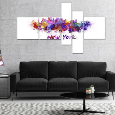 Designart New York Skyline Multipanel Cityscape Canvas Artwork Print - 5 Panels