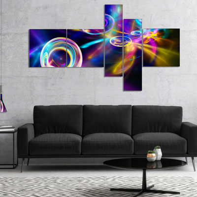 Designart Blue Fractal Desktop Multipanel Contemporary Canvas Art Print - 5 Panels