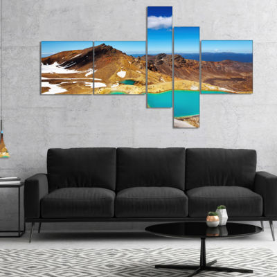 Designart New Zealand Emerald Lakes Multipanel Photography Canvas Art Print - 5 Panels