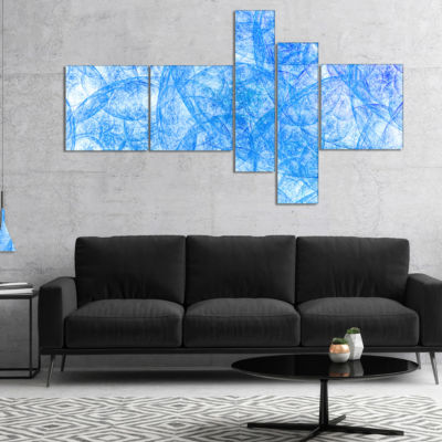 Designart Blue Fractal Dramatic Clouds MultipanelAbstract Canvas Art Print - 5 Panels