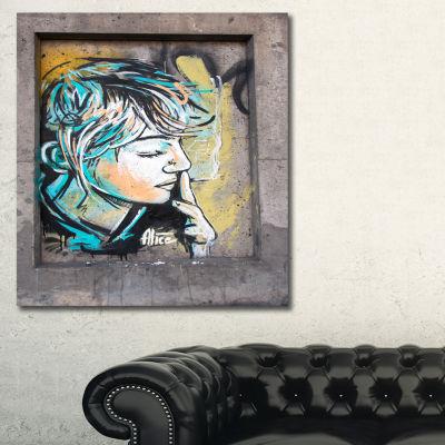 Designart Street Art By C215 Street Art Canvas ArtPrint - 3 Panels