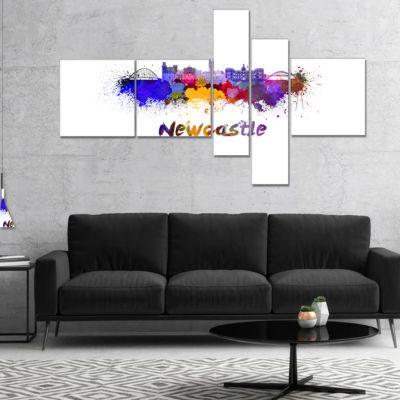 Designart Newcastle Skyline Multipanel CityscapeCanvas Art Print - 5 Panels