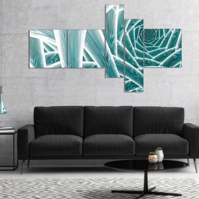 Designart Blue Fractal Endless Tunnel Multipanel Abstract Canvas Art Print - 5 Panels