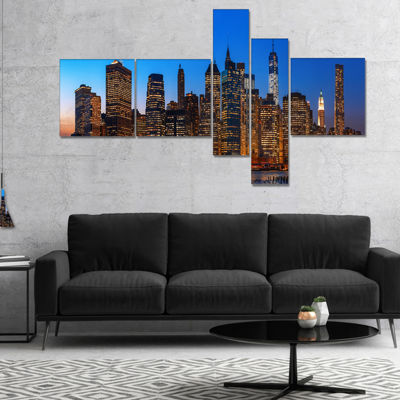 Designart Night New York City Panorama MultipanelExtra Large Canvas Art Print - 5 Panels