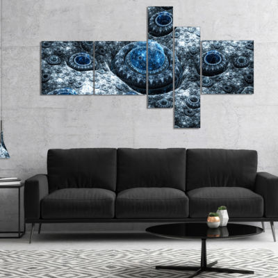 Designart Blue Fractal Exotic Planet Multipanel Abstract Canvas Art Print - 5 Panels