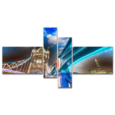 Designart Night Over Tower Bridge In London Multipanel Cityscape Photo Canvas Print - 4 Panels