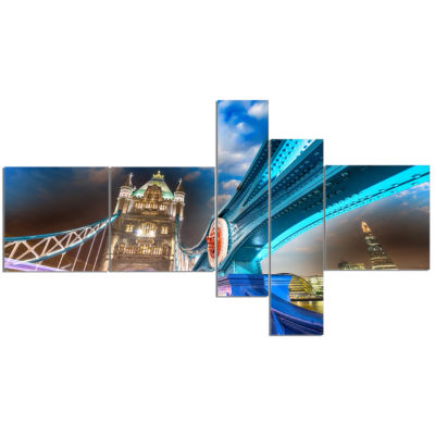 Design Art Night Over Tower Bridge In London Multipanel Cityscape Photo Canvas Print - 5 Panels