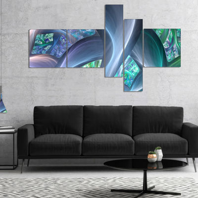 Designart Blue Fractal Exotic Plant Stems Multipanel Abstract Canvas Art Print - 5 Panels
