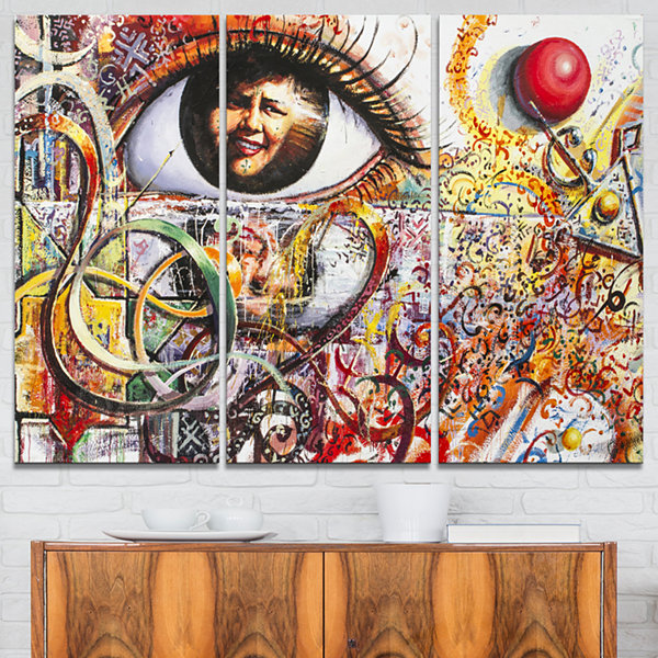 Designart Street Art In Asilah Village Graffiti Canvas Art Print - 3 Panels