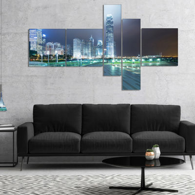 Designart Night Pathway In Modern City MultipanelCityscape Art Print On Canvas - 5 Panels