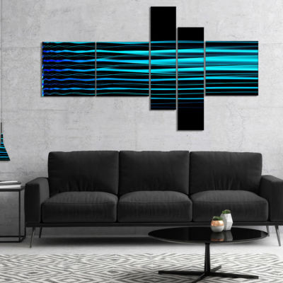 Designart Blue Fractal Flames On Black MultipanelAbstract Art On Canvas - 5 Panels