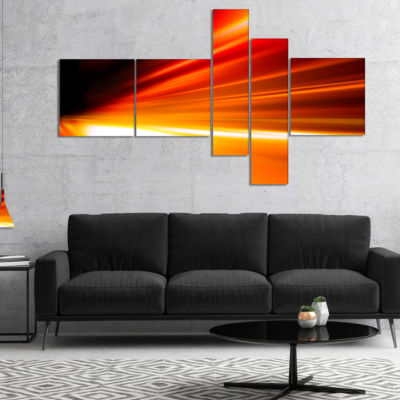 Designart Night Road Traffic Trail Multipanel Abstract Canvas Art Print - 5 Panels
