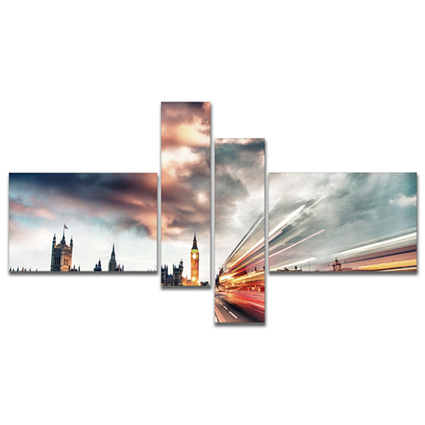 Designart Night Scene Of London City Multipanel Cityscape Photo Canvas Print - 4 Panels