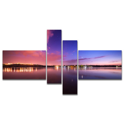 Designart Night Sky Reflection In River MultipanelLandscape Photography Canvas Print - 4 Panels