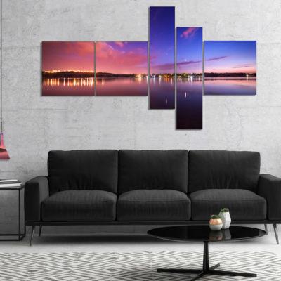Designart Night Sky Reflection In River MultipanelLandscape Photography Canvas Print - 5 Panels