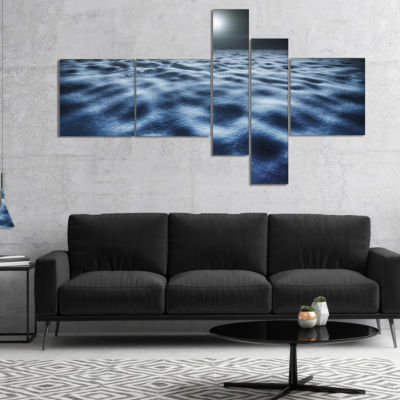 Designart Night With Fool Moon In Sky MultipanelLarge Landscape Canvas Art - 5 Panels