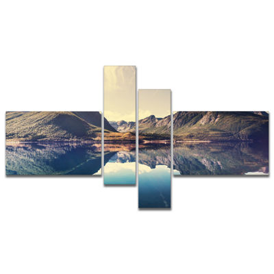 Designart Norway Summer Mountains Multipanel Landscape Photography Canvas Print - 4 Panels