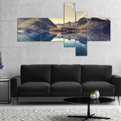 Designart Norway Summer Mountains Multipanel Landscape Photography Canvas Print - 5 Panels