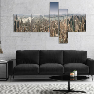 Designart Nyc 360 Degree Panorama Multipanel Cityscape Photography Canvas Print - 4 Panels