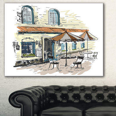 Designart Street Caf?? Watercolor Painting CanvasArt Print - 3 Panels