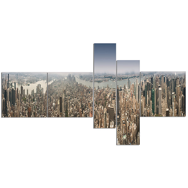 Designart Nyc 360 Degree Panorama Multipanel Cityscape Photography Canvas Print - 5 Panels
