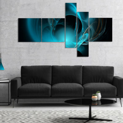 Designart Blue Fractal Galactic Nebula MultipanelAbstract Wall Art Canvas - 4 Panels
