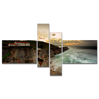 Designart Ocean Hitting Rocky Hill Multipanel Seashore Photo Canvas Art Print - 4 Panels