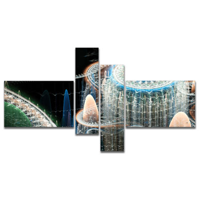 Designart Blue Fractal Infinite World Multipanel Abstract Art On Canvas - 4 Panels